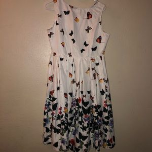 Xin Yan dress with butterfly & floral pattern XL